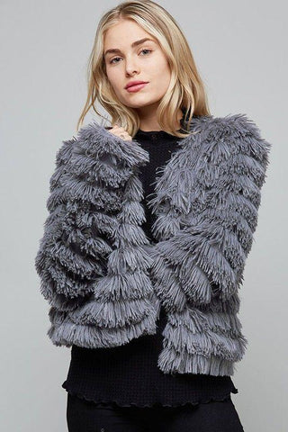 Front View Grey Layered Fur Jacket at Misty Boutique