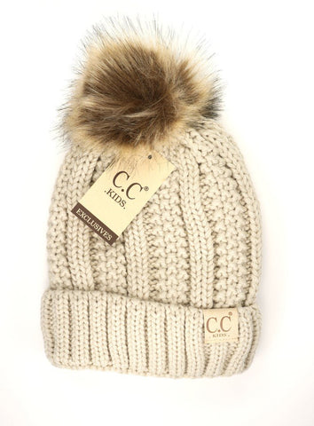 Kids Fuzzy Lined Fur Pom CC Beanie at Misty Boutique
