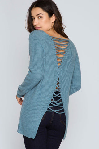 Back View Open Lace-Up back at Misty Boutique