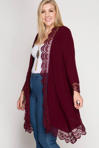 Side View Vino in Paradise Kimono at Misty Boutique