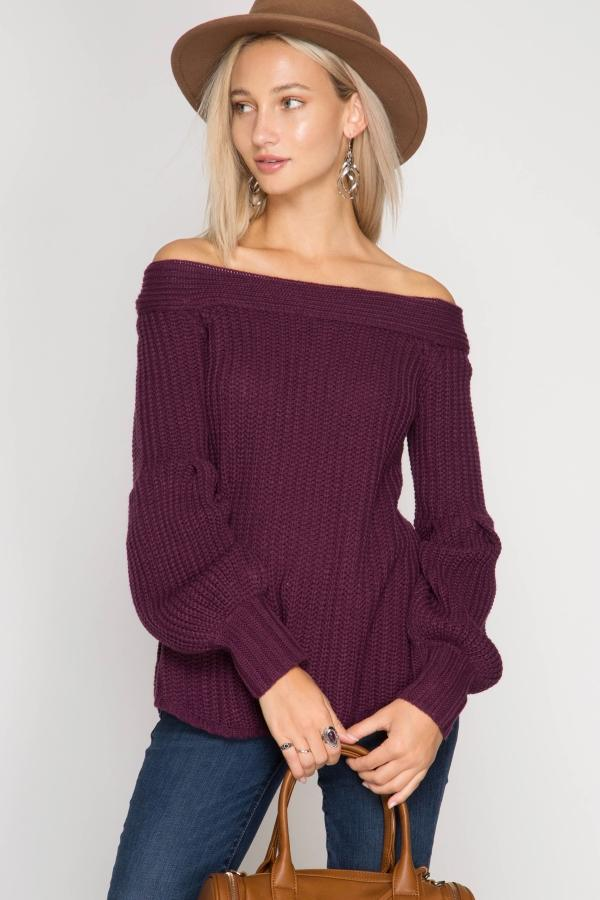 Purple Balloon Sleeve Off Shoulder