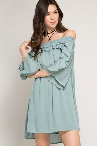 Front View Standout Off The Shoulder Dress at Misty Boutique
