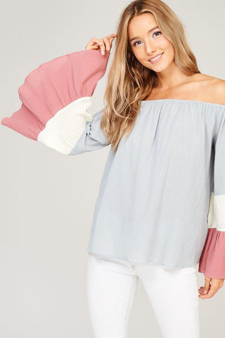 Front View Off The Shoulder Bell Sleeve Top at Misty Boutique
