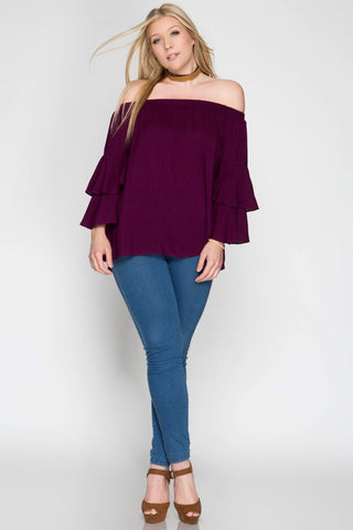 Front View Double Layer Bell Sleeve Off Shoulder Top at Misty Boutique