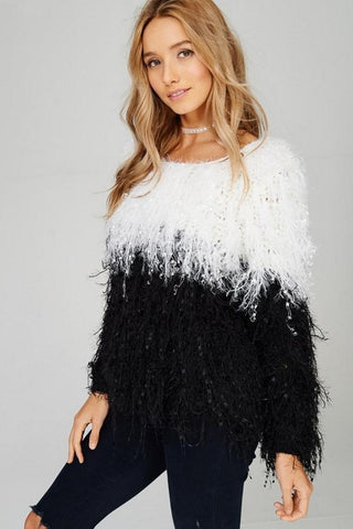 Front View Fringe Sweater in black and white at Misty Boutique