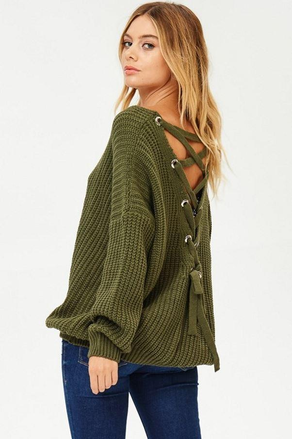 Lace-up Back V Neck Sweater