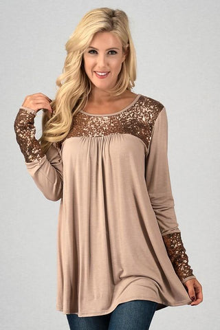 Front View Long Sleeve Top with Sequins Details at Misty Boutique