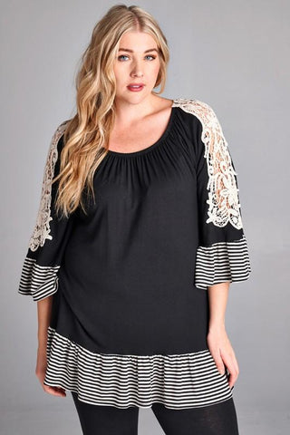 Front View Black Tunic Top With Lace at Misty Boutique