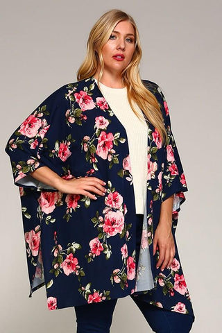 Front View Floral Motivation Cardigan at Misty Boutique