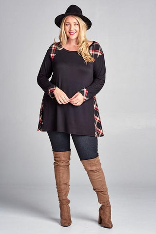 Front View Plus Size Plaid Tunic Top at Misty Boutique