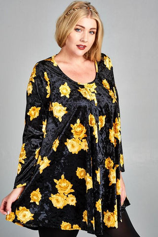 Front View Plus Size Black Tunic Top at Misty Boutique