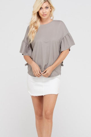 Front View Solid Ruffle Tee - Grey at Misty Boutique