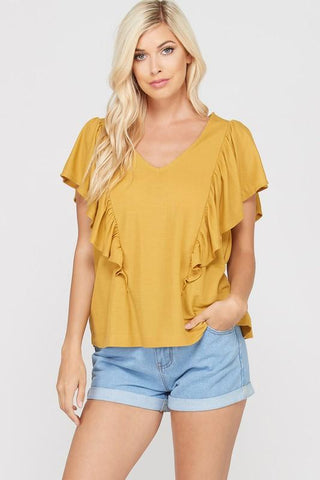 Front View Sleeveless Ruffled T-Shirt - Mustard at Misty Boutique