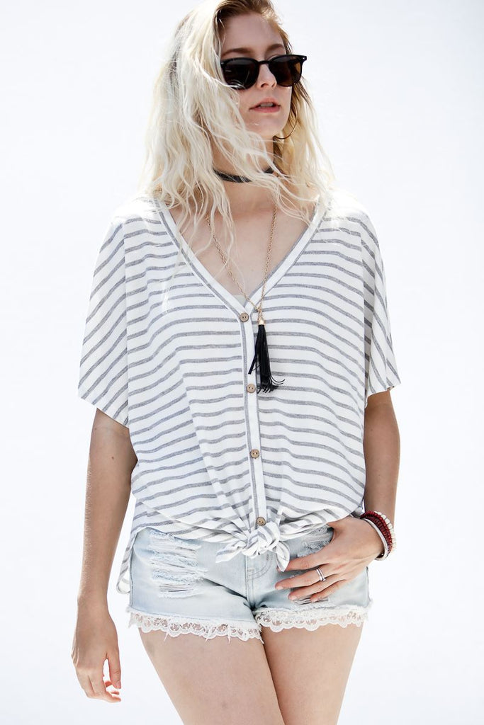 Striped Button Up Top With Front Tie Detail