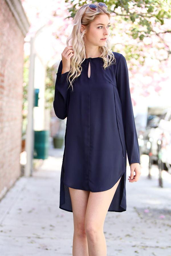 Perfect Dual Long Side Split Shirt - Navy