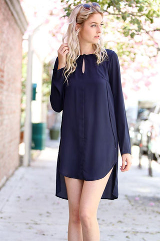 Front View Perfect Dual Long Side Split Shirt - Navy at Misty Boutique