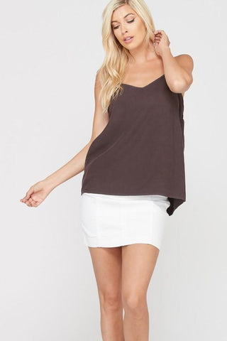 Front View Bow Back Spaghetti Strap Tank Top - Chocolate at Misty Boutique