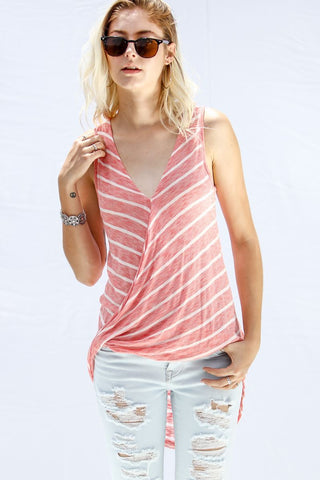 Front View Stripe Sleeveless Top With Twist Detail - Pink at Misty Boutique