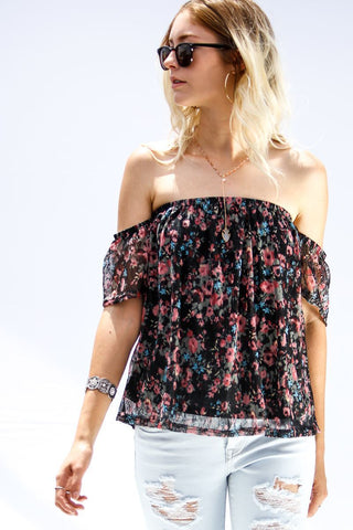 Front View Off The Shoulder Black Floral Top at Misty Boutique