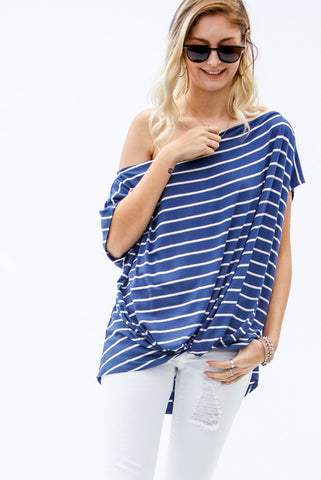 Tie Front Off The Shoulder Top - Blue