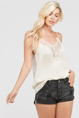 Front View Lace Tank Top - Cream at Misty Boutique