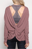 Back View Open Back Sweater - Mauve at Misty Boutique