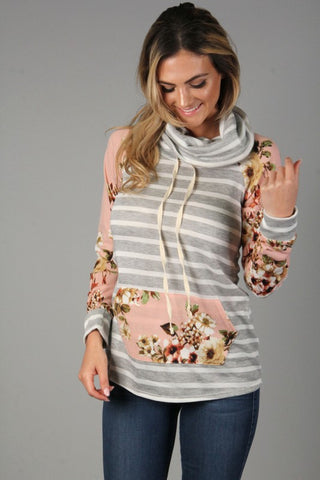 Front View Pink and Gray Striped Sweater at Misty Boutique