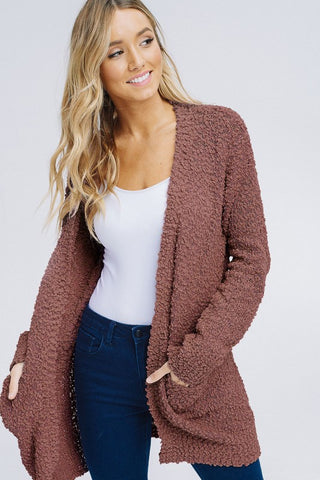 Front View Knit Cardigan - Mocha at Misty Boutique