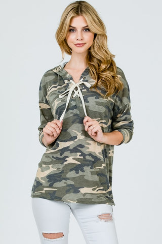 Front View Cozy Camo Top at Misty Boutique