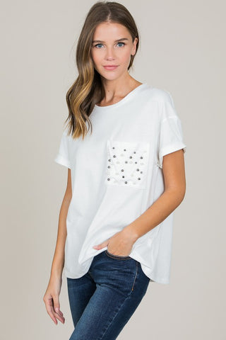 Front View Ivory Pearl Top at Misty Boutique