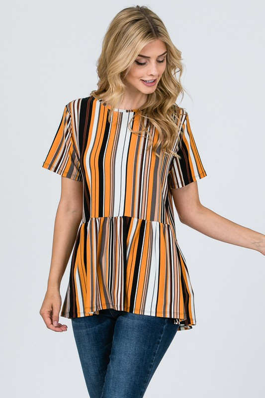 In Love Striped Blouse - Mustard