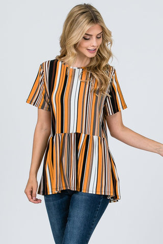 Front View In Love Striped Blouse Mustard  at Misty Boutique
