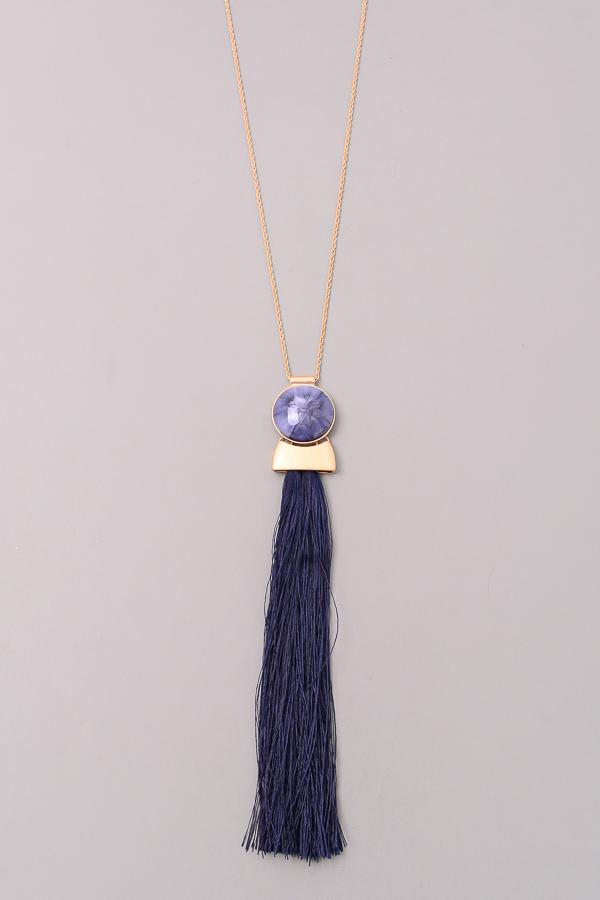 Long Tassel & Stone Charm Necklace