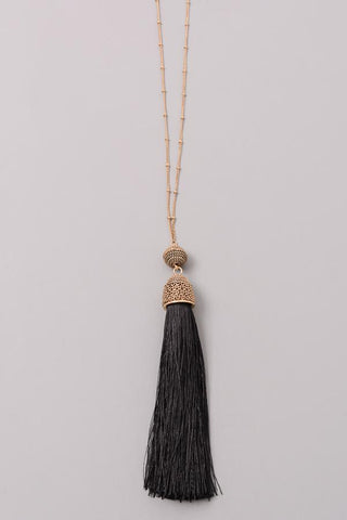 Chain Wrapped Tassel Necklace at Misty Boutique