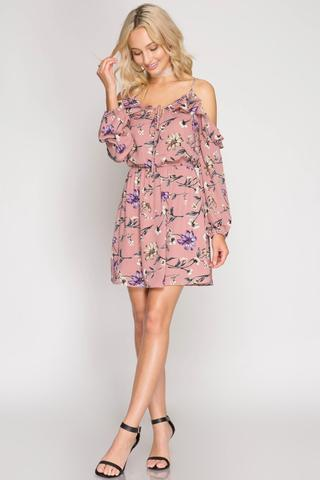 Front View Cold Shoulder Floral Dresses at Misty Boutique