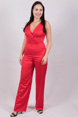 Front View Forever In Love Jumpsuit in Red  at Misty Boutique