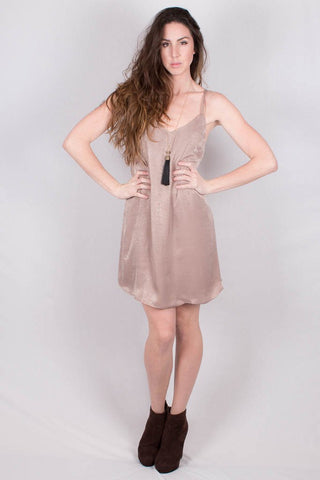 Front View Glamour taupe dress at Misty Boutique