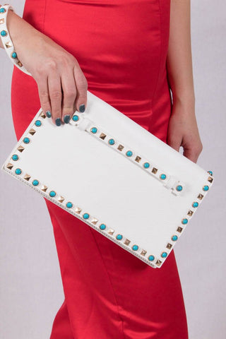 Front View True To Yourself White Clutch at Misty Boutique