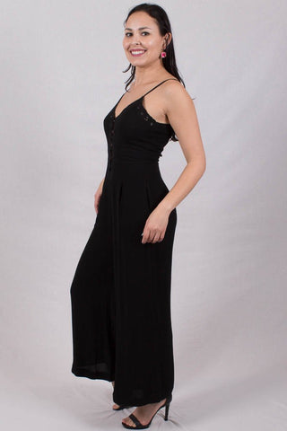 Front View Boho Black Jumpsuit Outfit at Misty Boutique