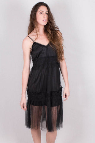 Front View Midi Dress in Black at Misty Boutique