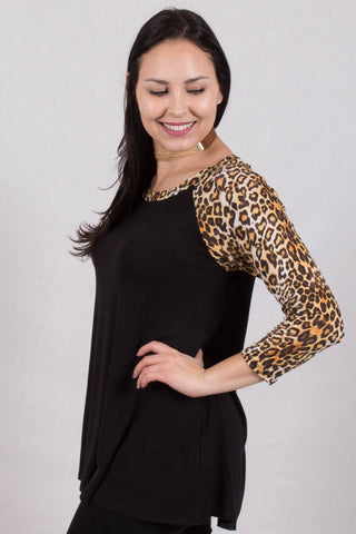 Side View Leopard Print Sleeves Top at Misty Boutique