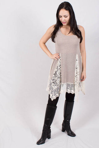 Front View Asymmetric Lace Spliced Tunic at Misty Boutique