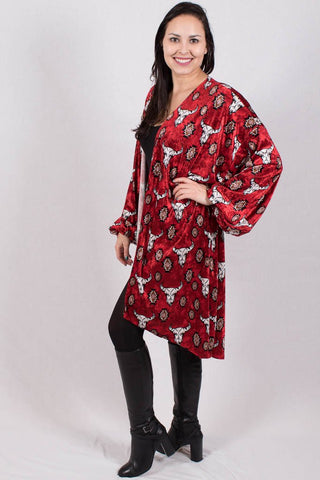 Side View Be My Love Red Bull Skull Kimono at Misty Boutique