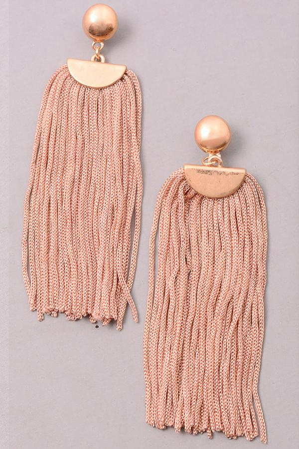 Cord Fringe Dangle Earrings