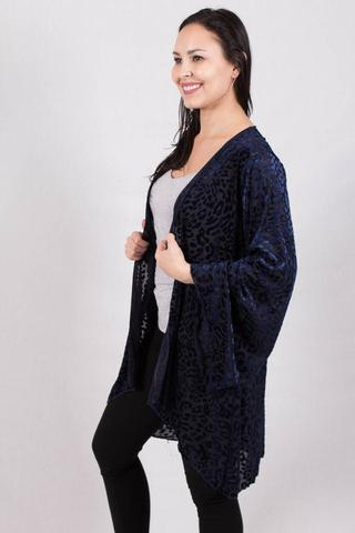 Side View Leopard Print Velvet Cardigan - Navy Blue at Misty Boutique