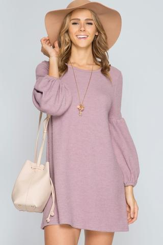 Front View Living In Long Balloon Sleeve Mauve Dress at Misty Boutique