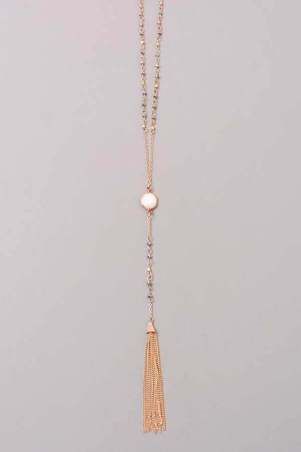 Elongated Chain Tassel Necklace