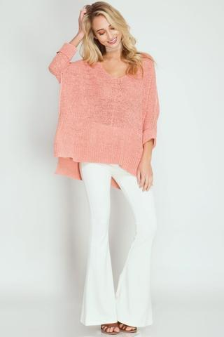 Front View Oversized Sweater with Folded Cuffs at Misty Boutique