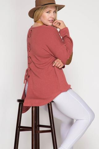 Side View Button Back Sweater with Elbow Patch at Misty Boutique