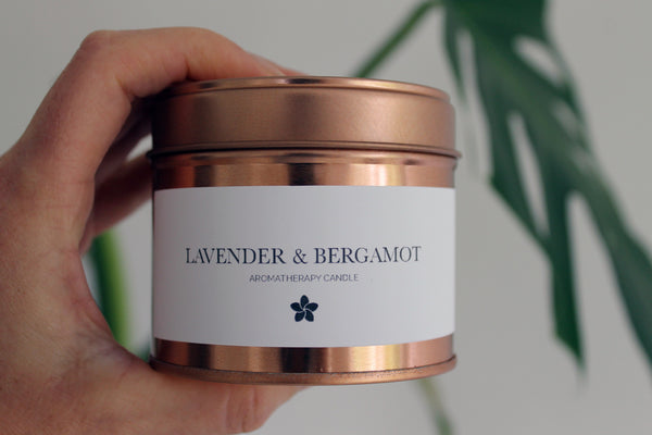 AROMATHERAPY Lavender + Bergamot Natural Soy Candle (Relaxing & Soothing)